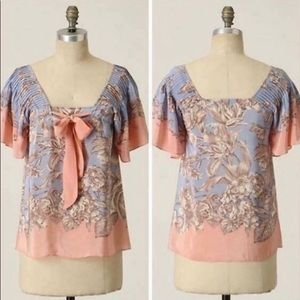 Anthropologie Silk Blouse | Blue & Pink | Size 8